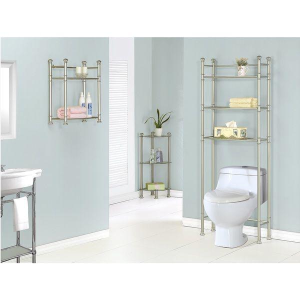 Satin Nickel Metal 33 Inch Tempered Gl Corner Etagere Orted Brushed Bathroom Shelves