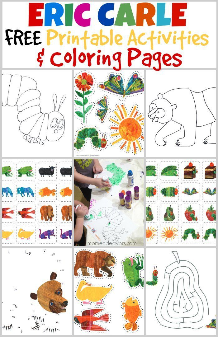 Easy Very Hungry Caterpillar Coloring Pages Printables Bedtime Playtime With The World Of Eric Ca Eric Carle Activities Free Printable Activities Book Crafts