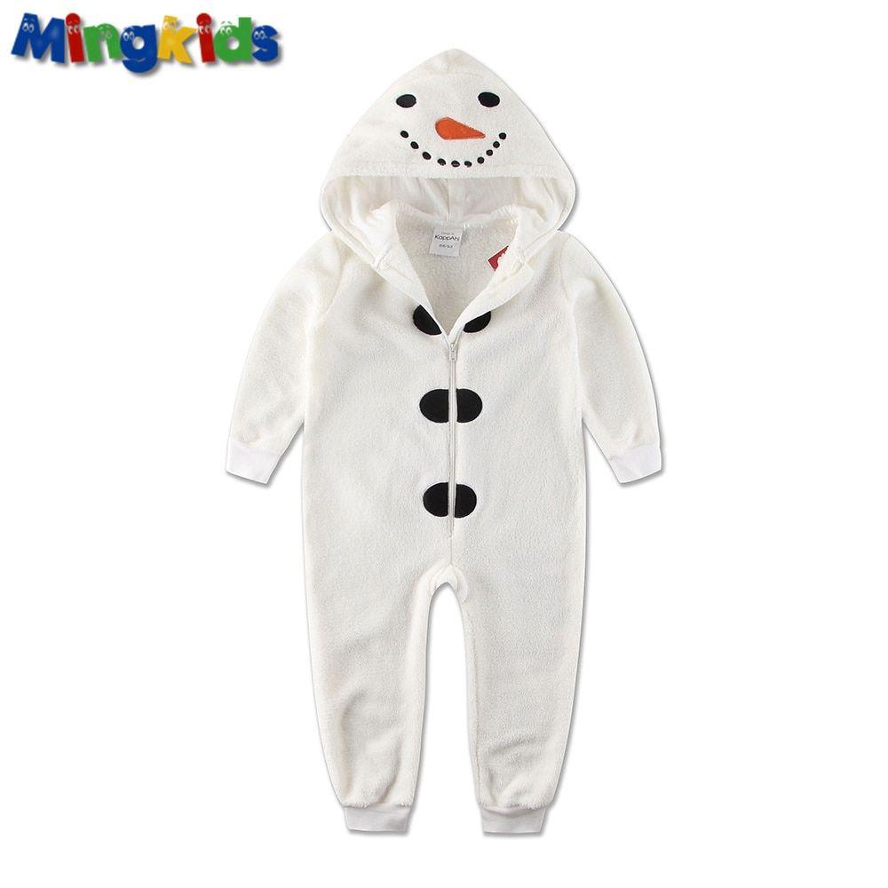 Mingkids Jumpsuits Sleepsuit Pajamas Snowman Costume Cosplay baby