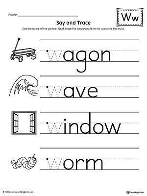 say and trace letter w beginning sound words worksheet alphabet worksheets alphabet. Black Bedroom Furniture Sets. Home Design Ideas