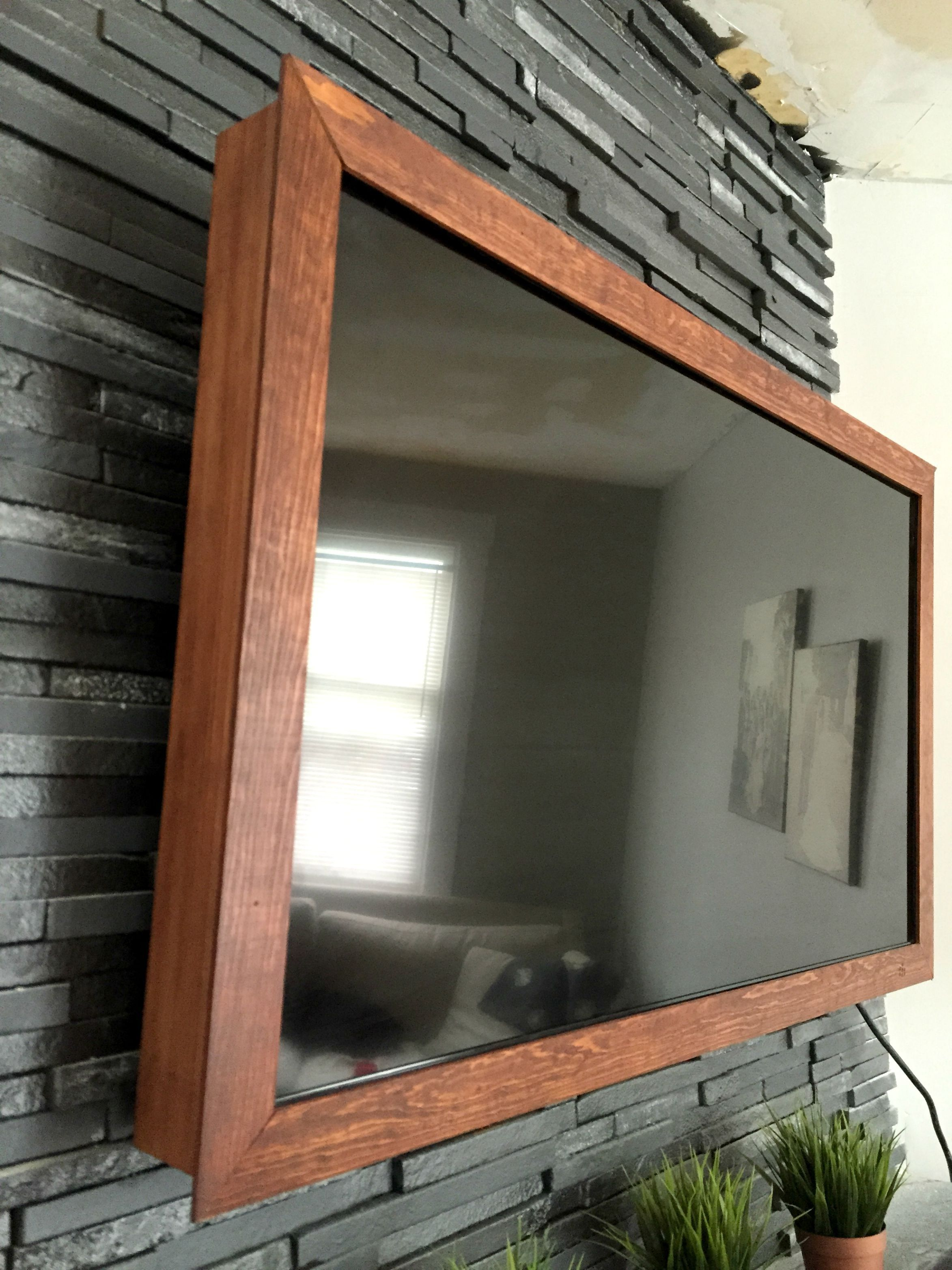 DIY $40 Wood TV Frame {works for TVs that tilt and rotate, too ...