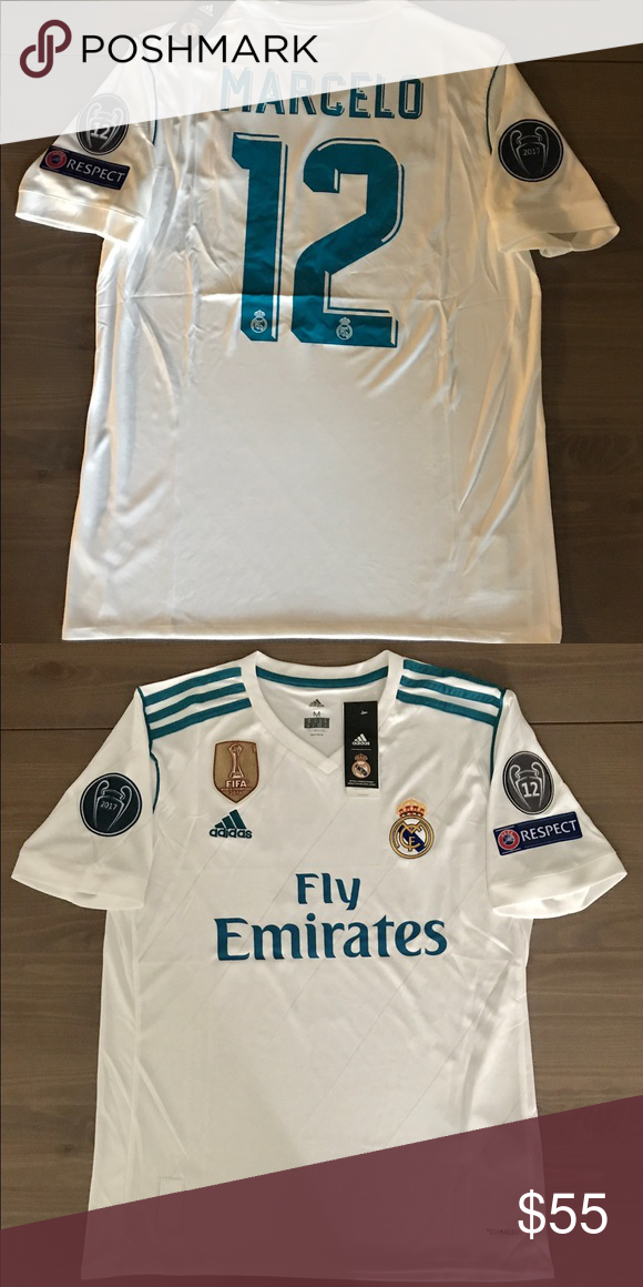 eaa0d471967 ebay mens marcelo real madrid cf jersey adidas 12 white long sleeve shirt  home soccer 6538c 0537a  good real madrid home white marcelo 12 soccer  adidas real ...