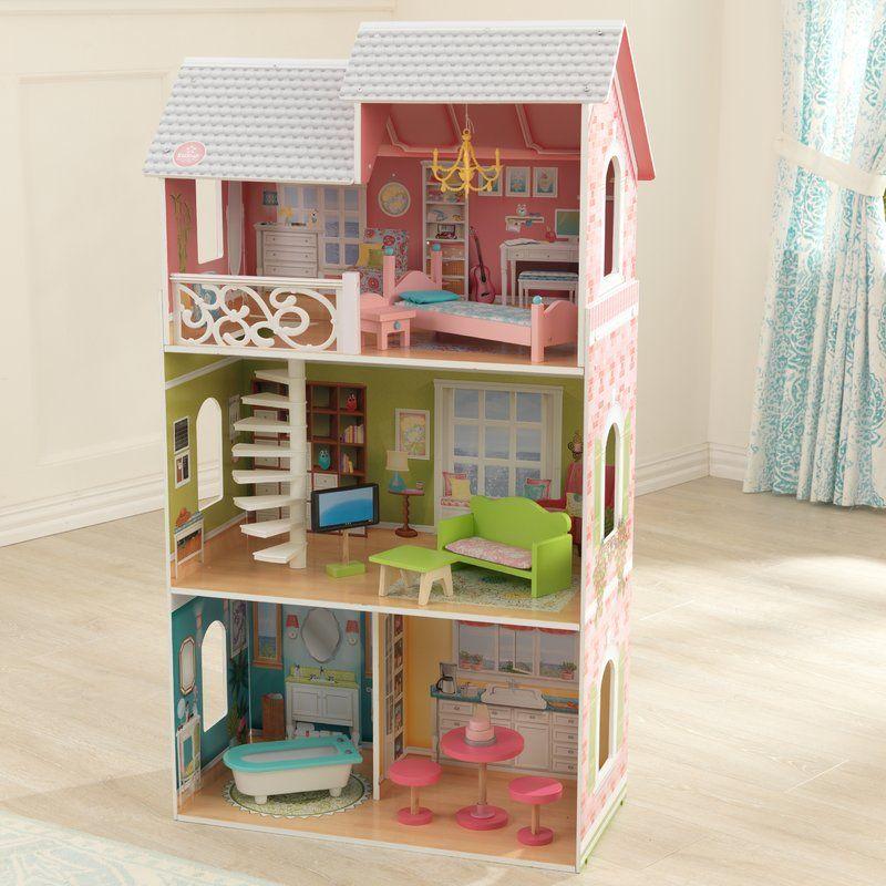 Aria Dollhouse Kids Wooden Dolls House Furniture Dollhouse
