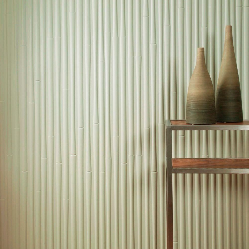 Bamboo Decorative Wall Panel In Matte White S59 01