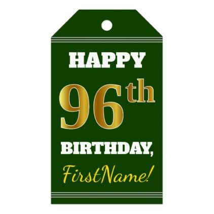 Green faux gold 96th birthday custom name gift tags birthday gifts green faux gold 96th birthday custom name gift tags birthday gifts party celebration custom gift negle Images