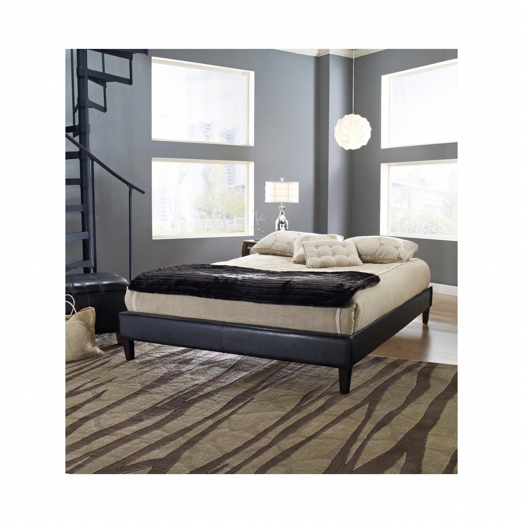 Faux Leather Cade Upholstered Platform Bed Frame Full Black Eco