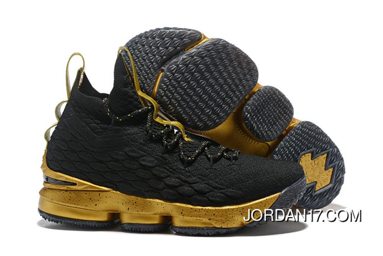 57605cad3e9 2018 Nike LeBron James 15 XV Basketball Shoes Black Gum 897648-300 ...