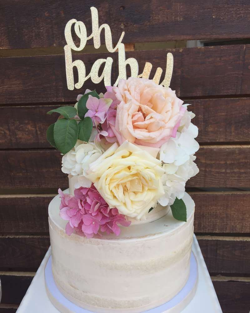 Flower Baby Shower Cake: Boho Baby Shower Baby Shower Party Ideas