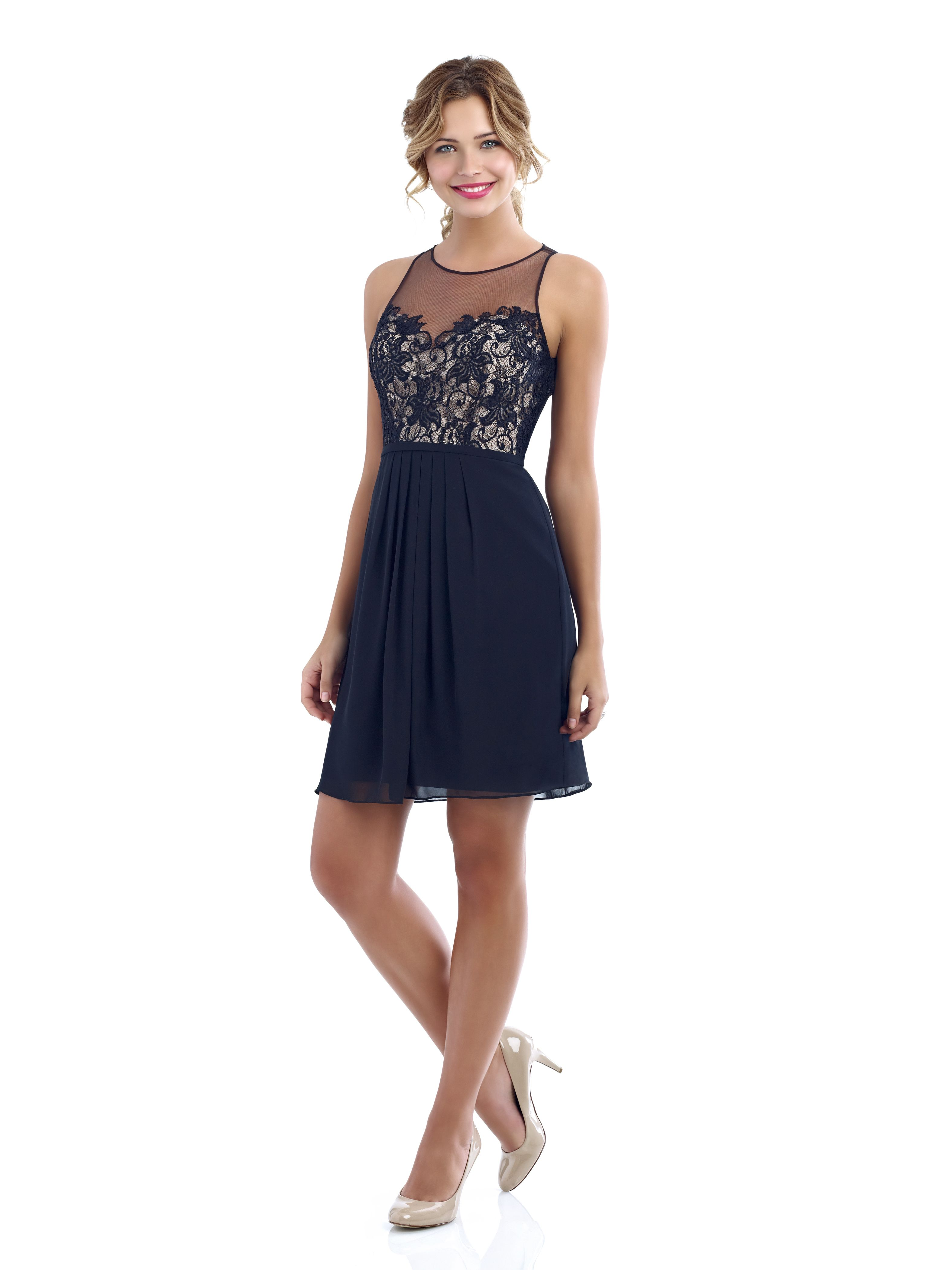 4214: Short chiffon bridesmaid dress with lace bodice and ...