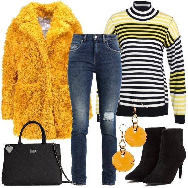 size 40 170ed 731e1 Cappotto effetto peluche color senape abbinato a jeans slim ...