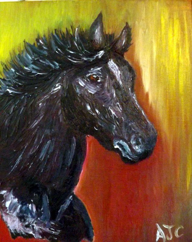 Pour ce portrait de cheval ,j\u0027ai choisi une toile petit format