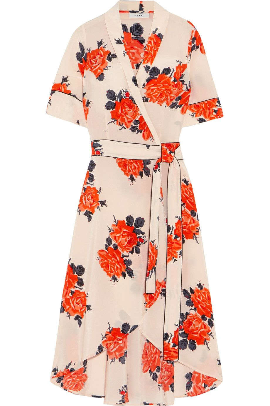 99954cfce280 GANNI | Harness floral-print silk crepe de chine wrap dress |  NET-A-PORTER.COM