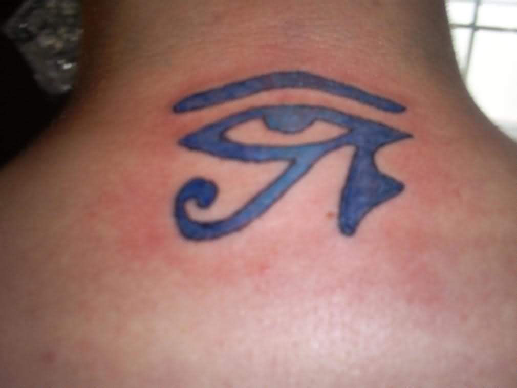 72ab6dfda4f78 Blue Egyptian Eye Tattoo On Upperback   Egyptian Eye Tattoo ...