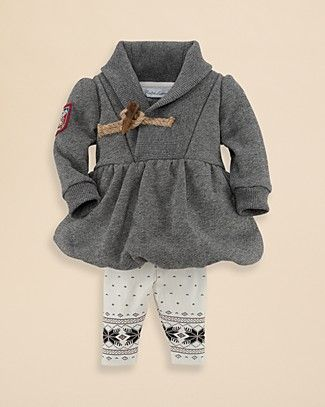 Ralph Lauren Childrenswear Infant Girls' Salt & Pepper Fleece Dress & Leggings - Sizes 3-9 Months | Bloomingdale's