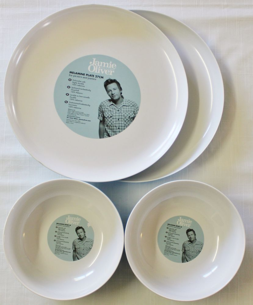 New Jamie Oliver 2 Plates \u0026 2 Bowls Melamine Picnic Dish Cooking Mothers Day $32.00 includes & New Jamie Oliver 2 Plates \u0026 2 Bowls Melamine Picnic Dish Cooking ...