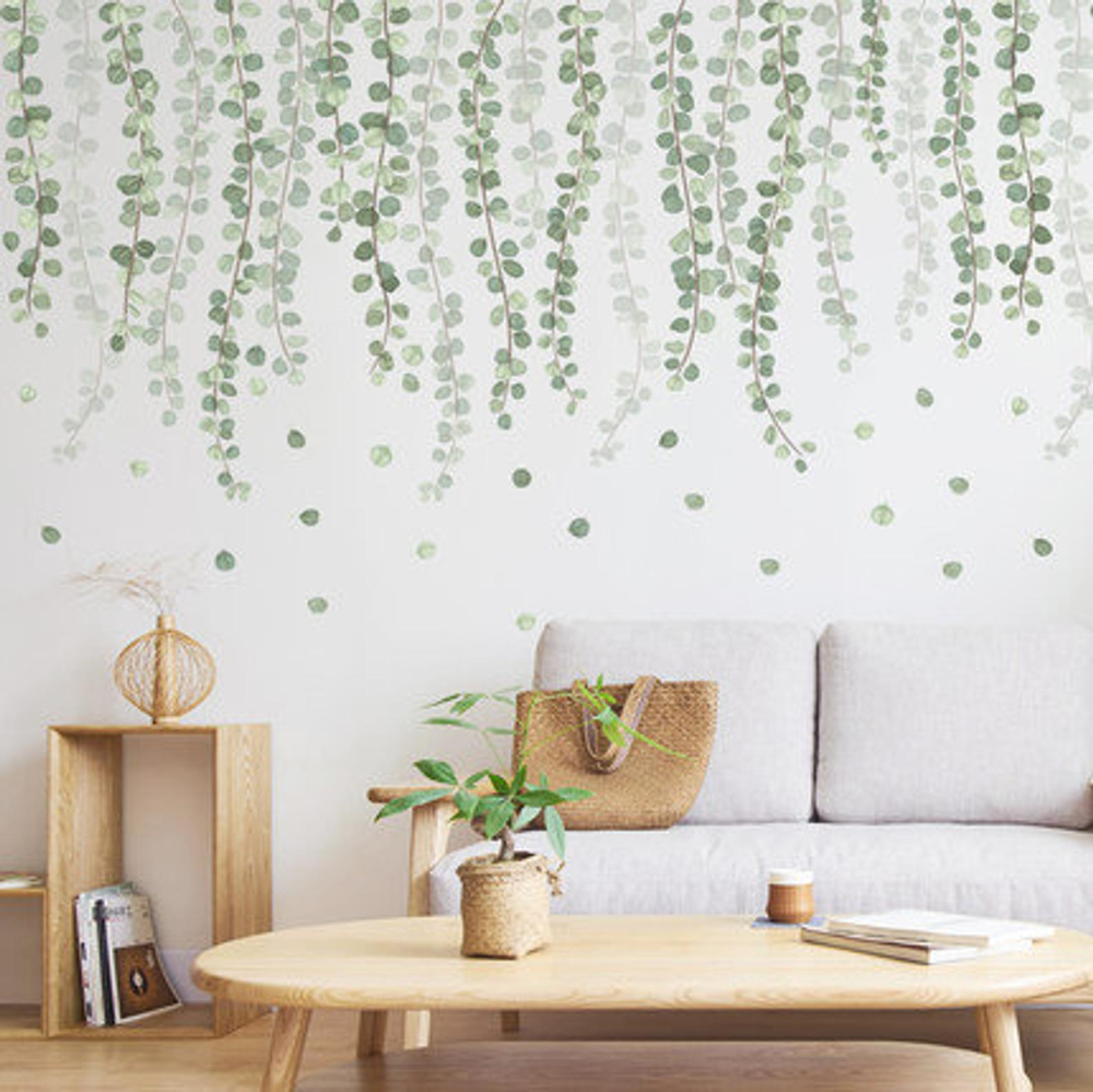hanging tender branch dark green leaves vine wall decal on wall stickers id=20154