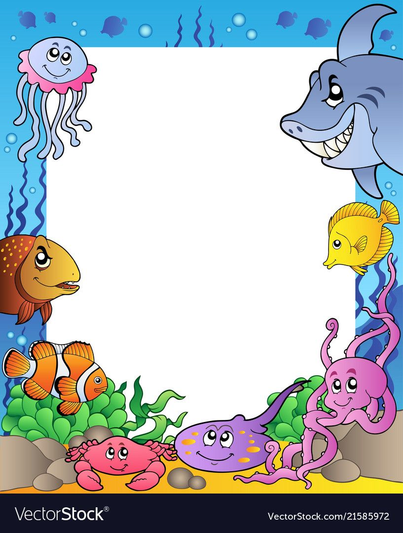 Frame With Sea Fishes 1 Vector Image On Vectorstock Page Borders Design Underwater Theme Bee Art