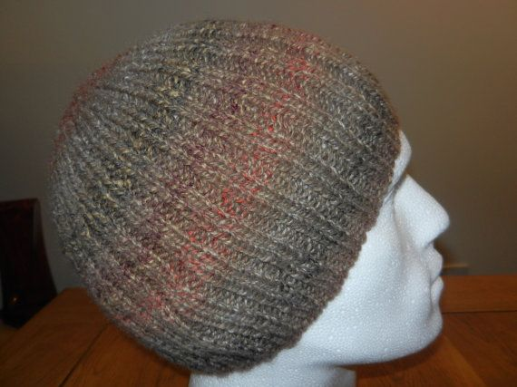 Men's hand knitted ribbed beanie hat by KnitsleyHats on Etsy