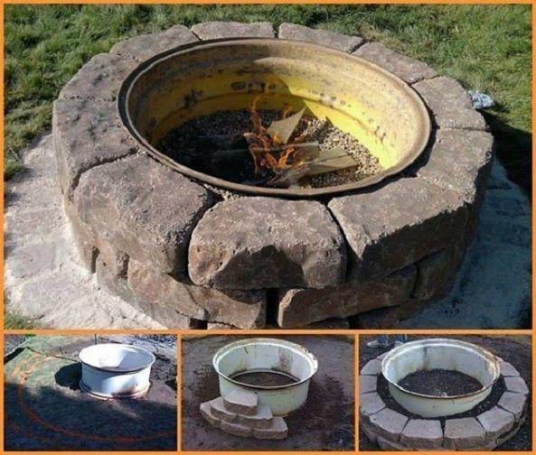 Çelik Jant ve Taşlarla Bahçe Şöminesi Yapımı - Hobi Fikirleri Yaratıcı El İşi Örnekleri #diyfirepit