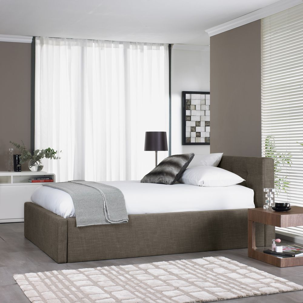 dwell Upholstered cotton mix storage bed double mocha
