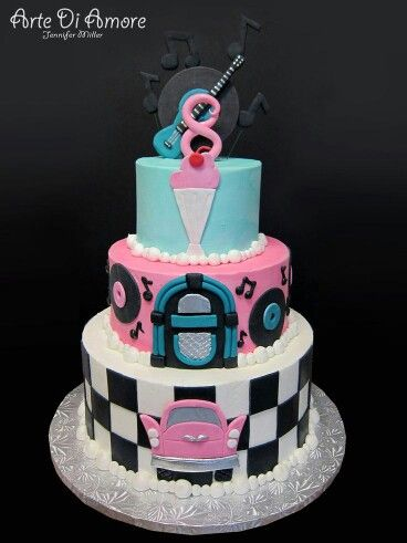 50s Rock N Roll Cake The 50s Pinterest Cake Birthday Cake And