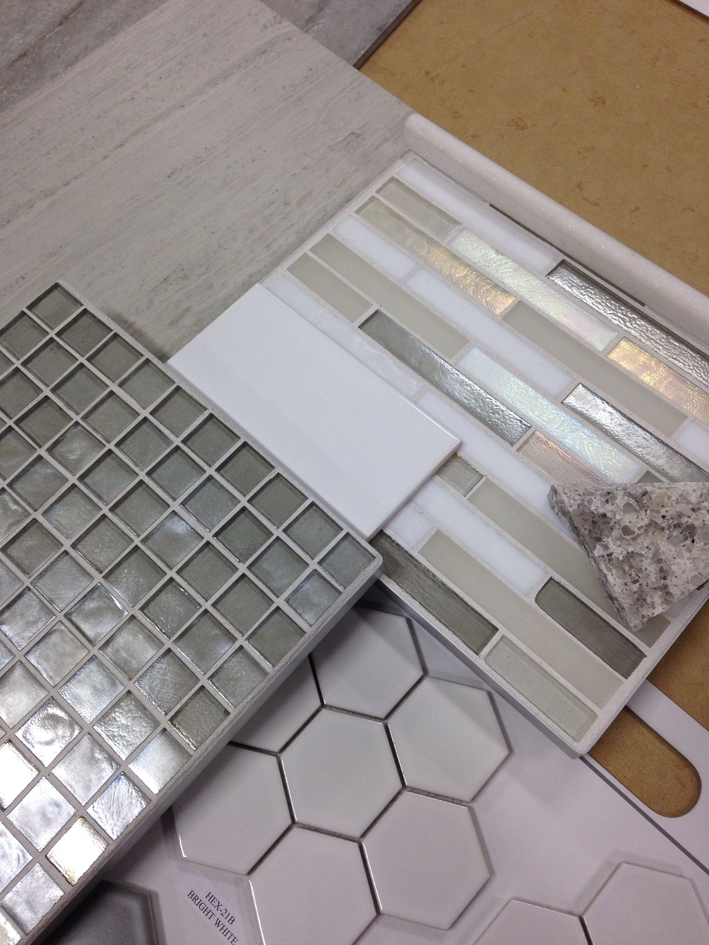 Bathroom tile combo hexagon tiles on shower pan with grey glass boarder gray grout white subway the walls   also