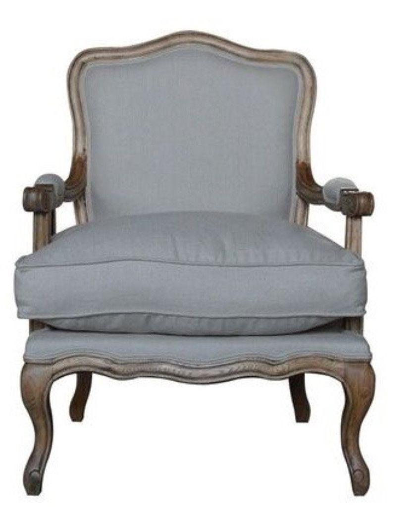 Louis Styled Armchair U0026 Footstool With Honey Oak Frame   Grey Linen U2013  Allissias Attic U0026