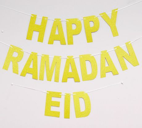 Moderneid Gold Glitter Letter Ramadan Eid Banner Gold Glitter