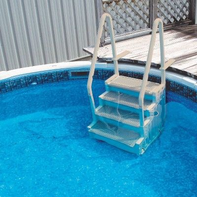 Confer Step-1 Above Ground Pool Ladder Step Entry W/ Mat Pad ...