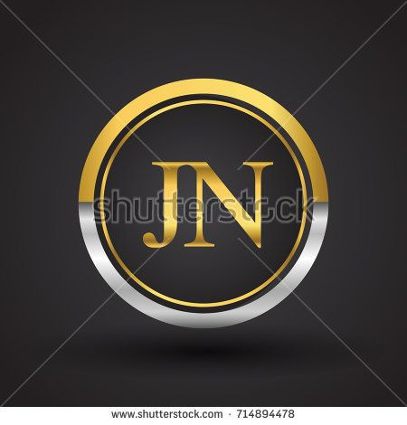 Jn Letter Logo In A Circle Gold And Silver Colored Vector Design Template Elements For Your Business Or Company Identity Letter Logo Circle Logos Lettering