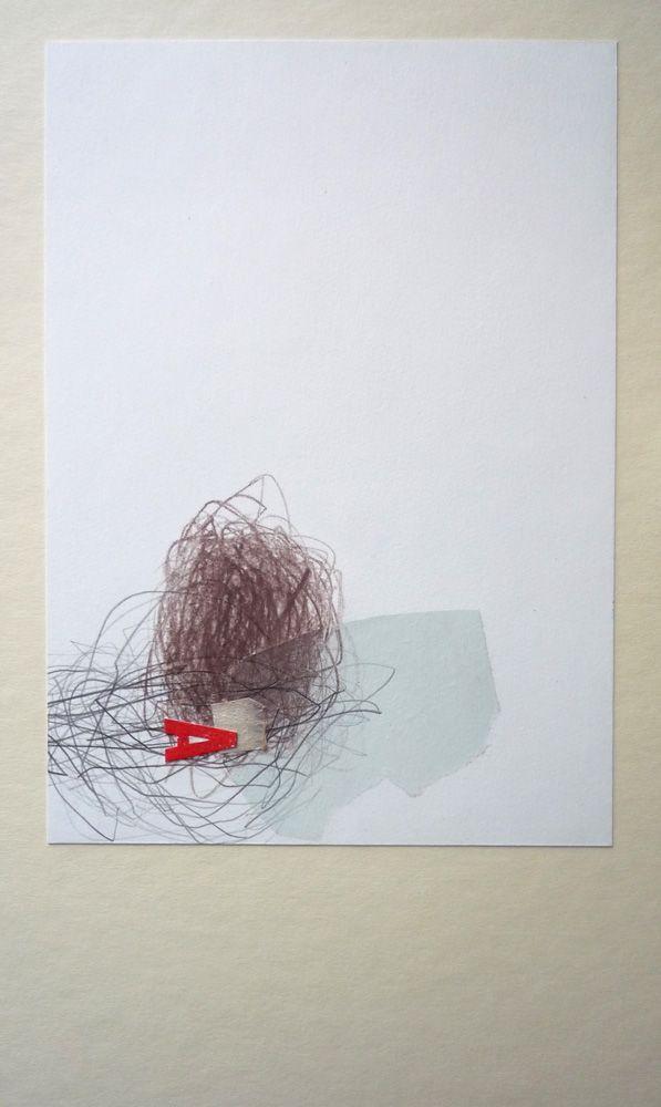 """Bea Mahan - """"A"""" (2011) - 38cm x 22cm (15in x 8,7in) Collage, monotipo y lápiz sobre cartón"""