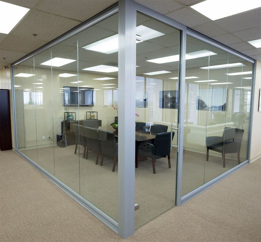 attractive glass wall door systems #4: Glass wall Conference room with frameless glass swing door