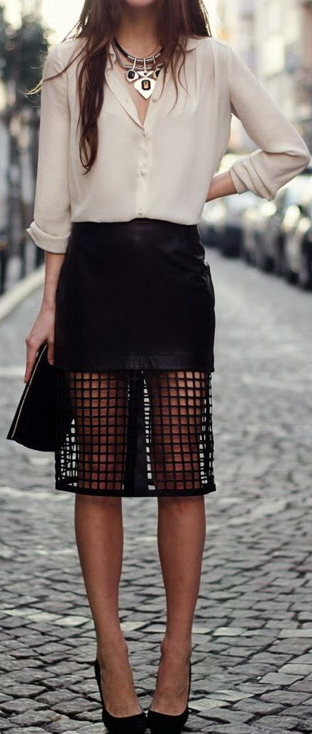 Spring Summer Business Casual Work Outfit Office Wear Party Look Cream Chiffon Shirt Statement Necklace Black Stilettos Laser Cut Midi Skirt