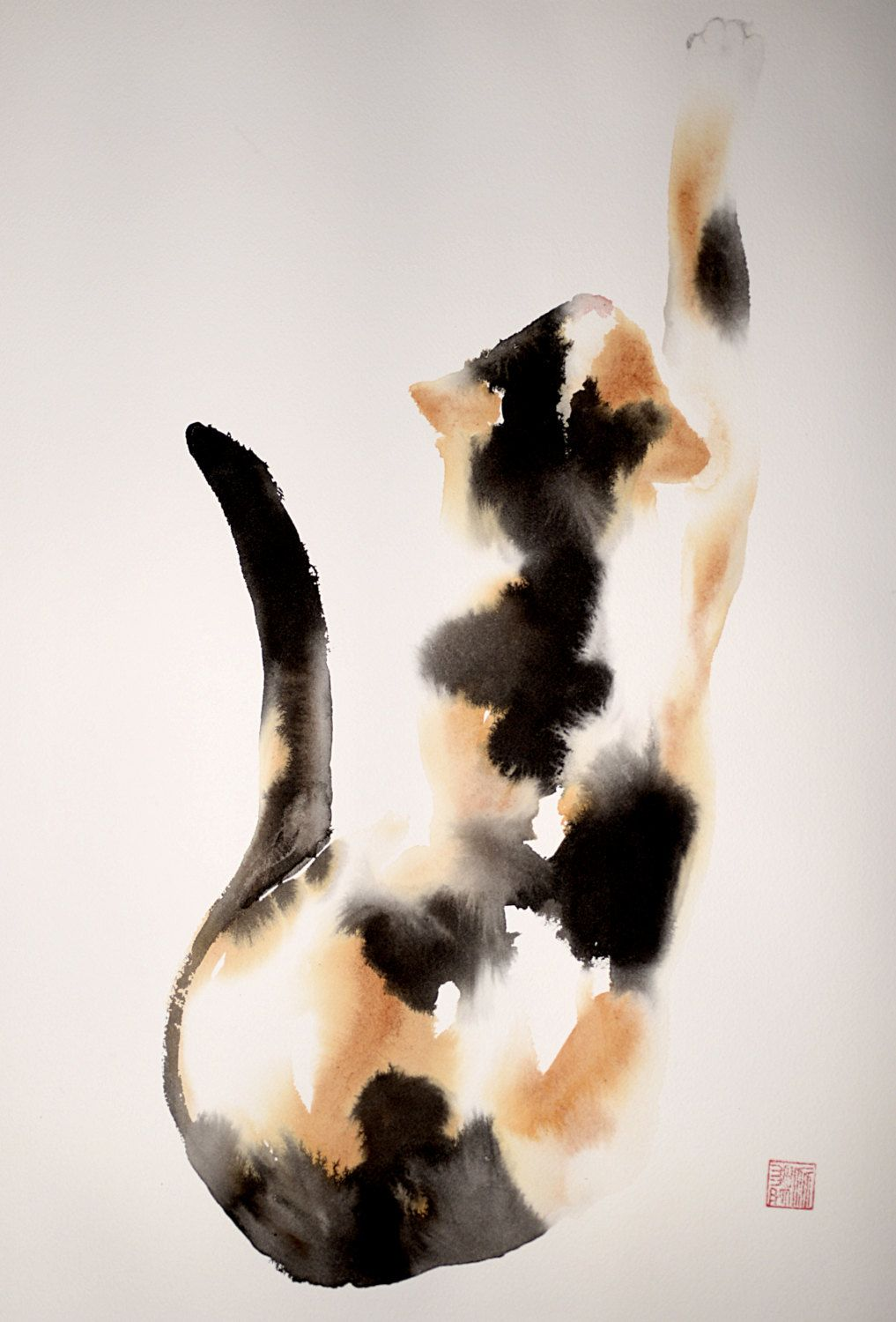 Beautiful Calico Cat Original Ink And Watercolor Mixed Technique
