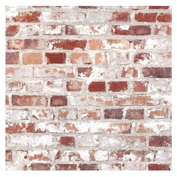 Muriva Wallpaper Liked On Polyvore Featuring Home Home Decor Wallpaper Rustic Wallpaper Rustic Home Decor P White Wash Brick Brick Decor Red Brick House