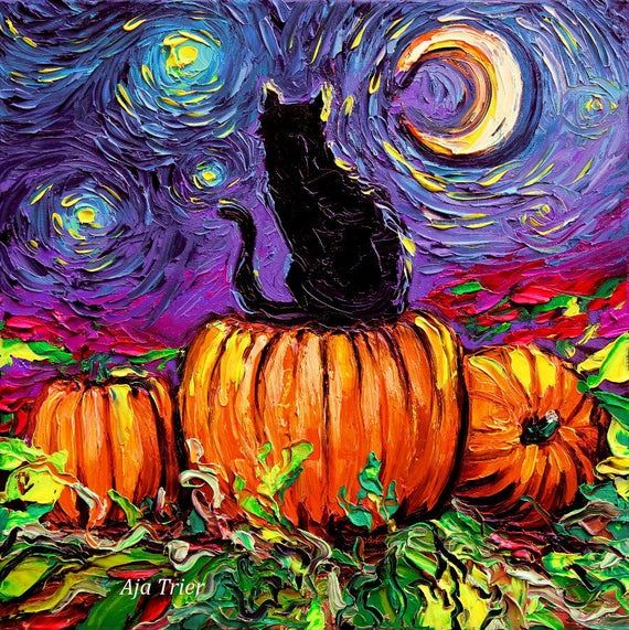 Halloween CANVAS print Starry Hallows Eve black cat pumpkin patch Aja 8x8, 10x10, 12x12, 16x16, 20x2