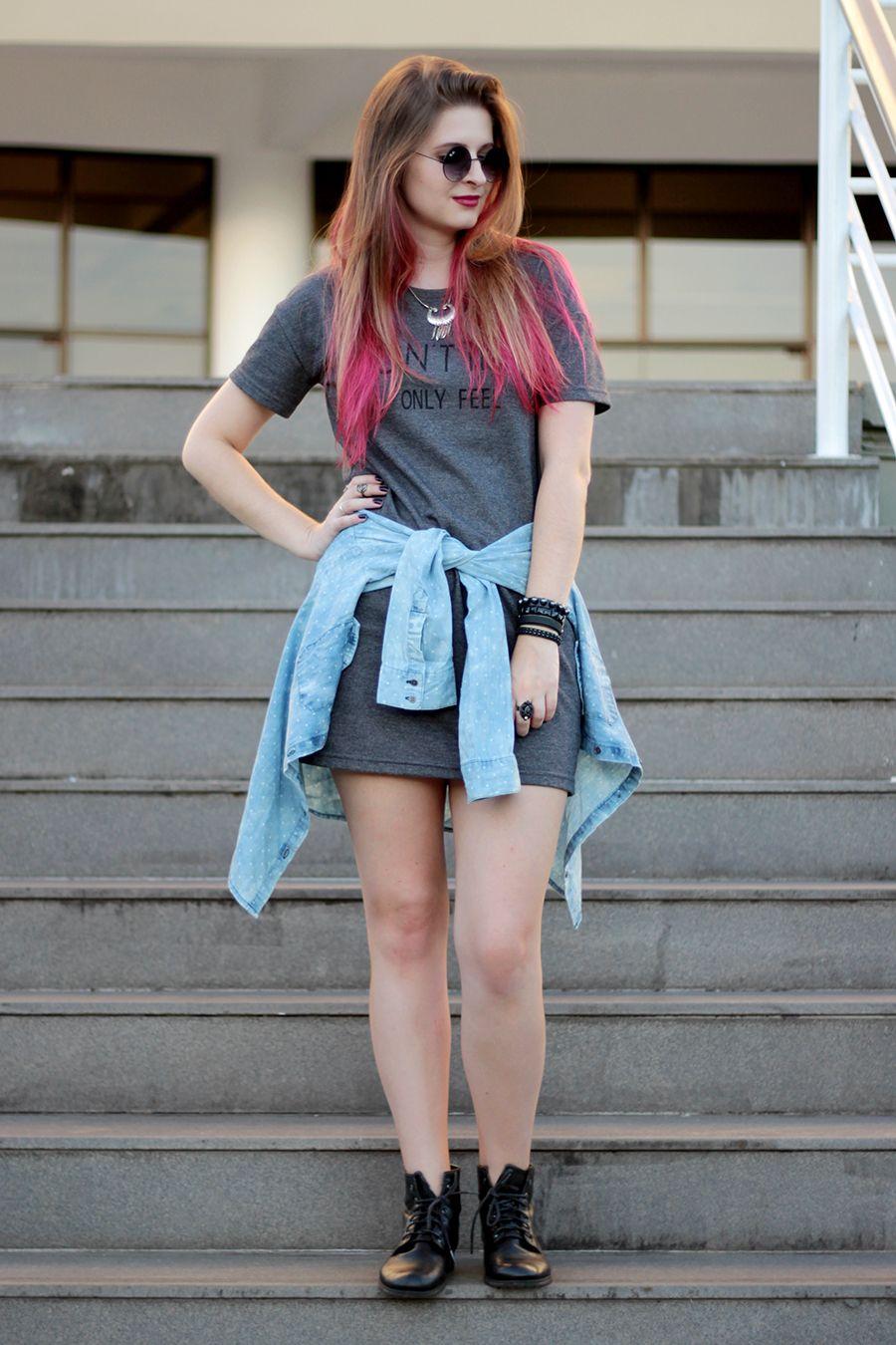 Vestido jeans com camisa jeans