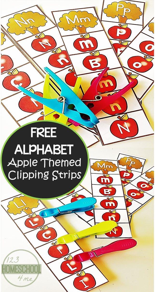 FREE Alphabet Apple Clipping Strips   Pinterest