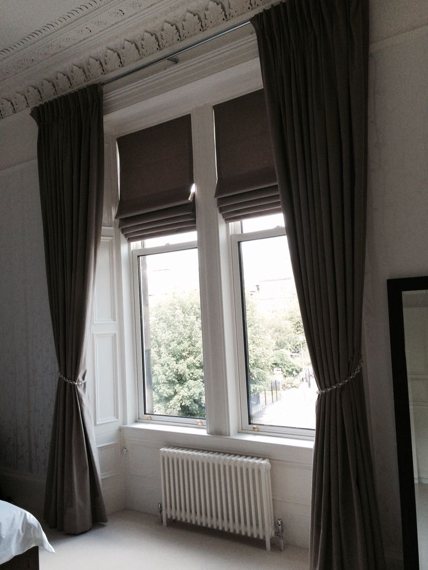 John Lewis Luna Fabric In Mocha Roman Blinds And Triple Pleat Curtains First Attempt At Very Proud