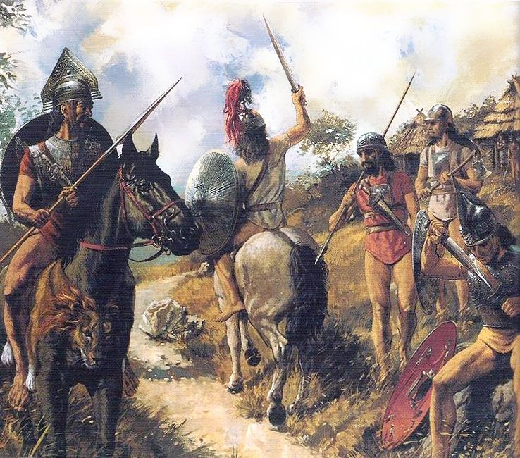 Earliest roman warriors of the age of Romulus - art by Peter Connolly