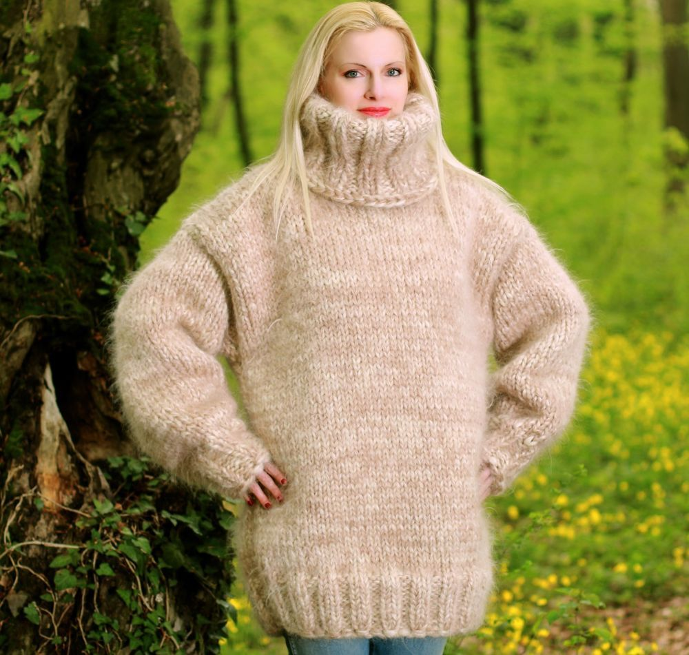 01213df22e 3.5 KG Hand Knitted Mohair MEGA THICK SWEATER BEIGE IVORY Pullover by  SUPERTANYA