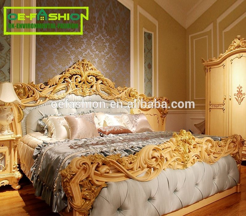. OE FASHION carved solid wood European style bed room furniture super