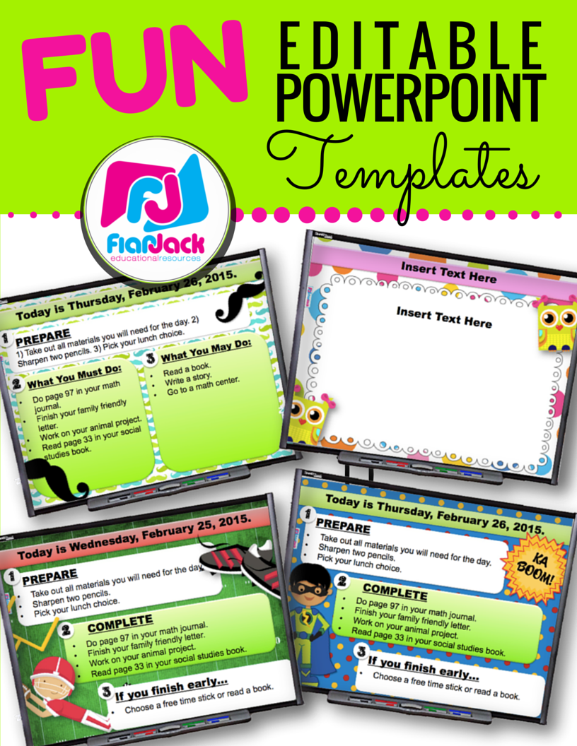 fun editable powerpoint templates pack | morning work, display and, Modern powerpoint