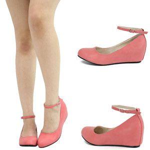 Blush Pink Mary Jane Ankle Strap Low Med Wedge Heel Ballet Flat Pump Sandal Sz 9   eBay
