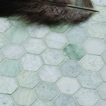 2 Hexagon Ming Green Marble Mosaic Wall Tile Remodel
