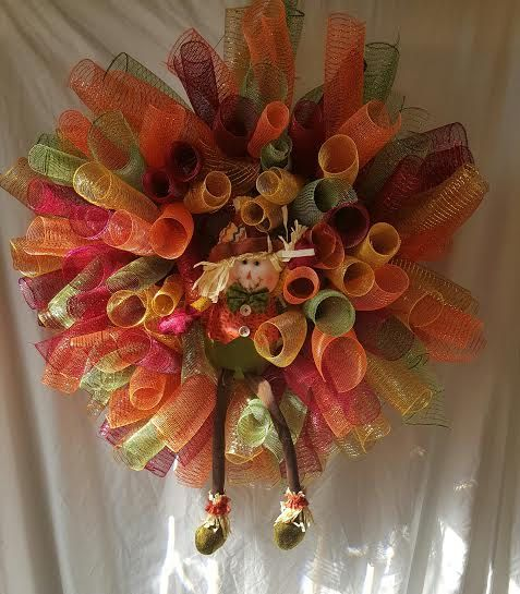 Large Scarecrow Fall Wreath by FestiveByMail on Etsy