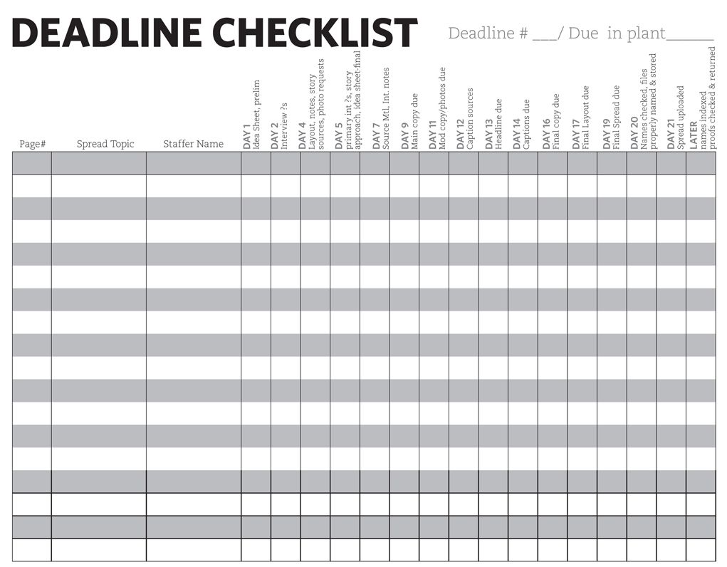 List of deadlines to adhere by in order to complete the yearbook by ...