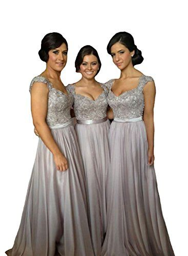 01ff0bef ... Cheap Party Dress for Wedding. Tidetrend Silver VNeck Lace Sequins  Beads Cap Sleeve Chiffon Long Bridesmaid Dresses *** Click image for more  details.