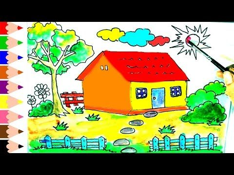 How to draw and paint house for kids drawing house for learning colors