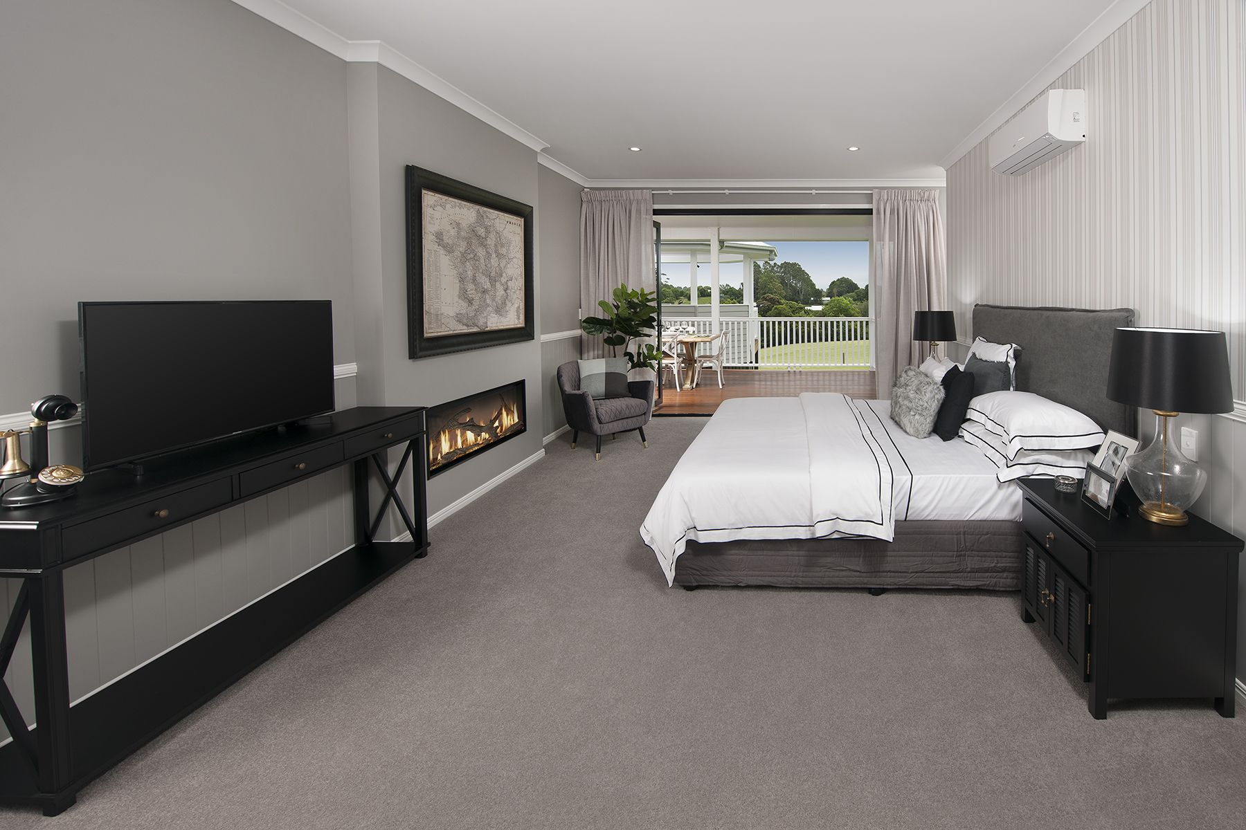 Master Bedroom With Fireplace On A Cold Night